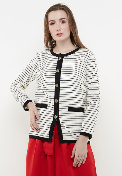 Fancy Gold Botton Cardigan - White & Black Stripe