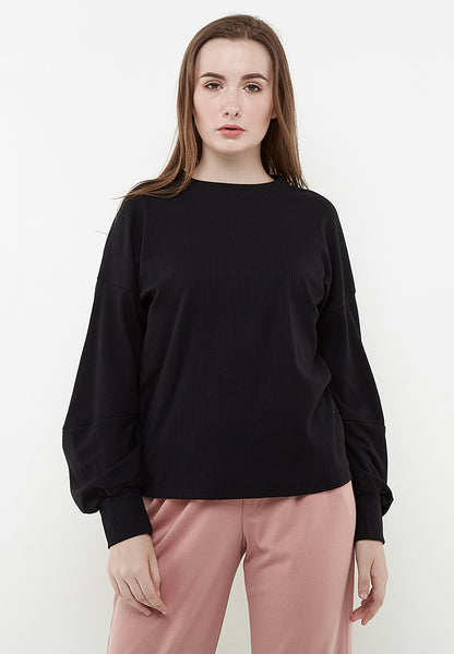 Puffy Sleeves Blouse - Black