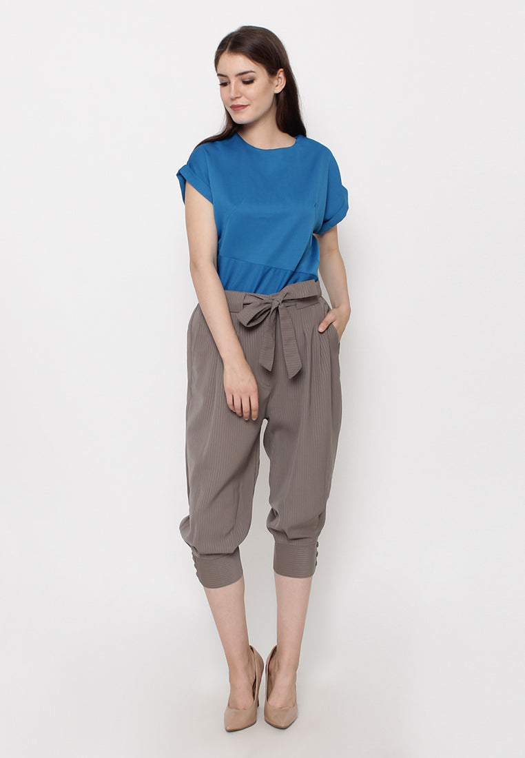 Midi Capri Pants - Brown