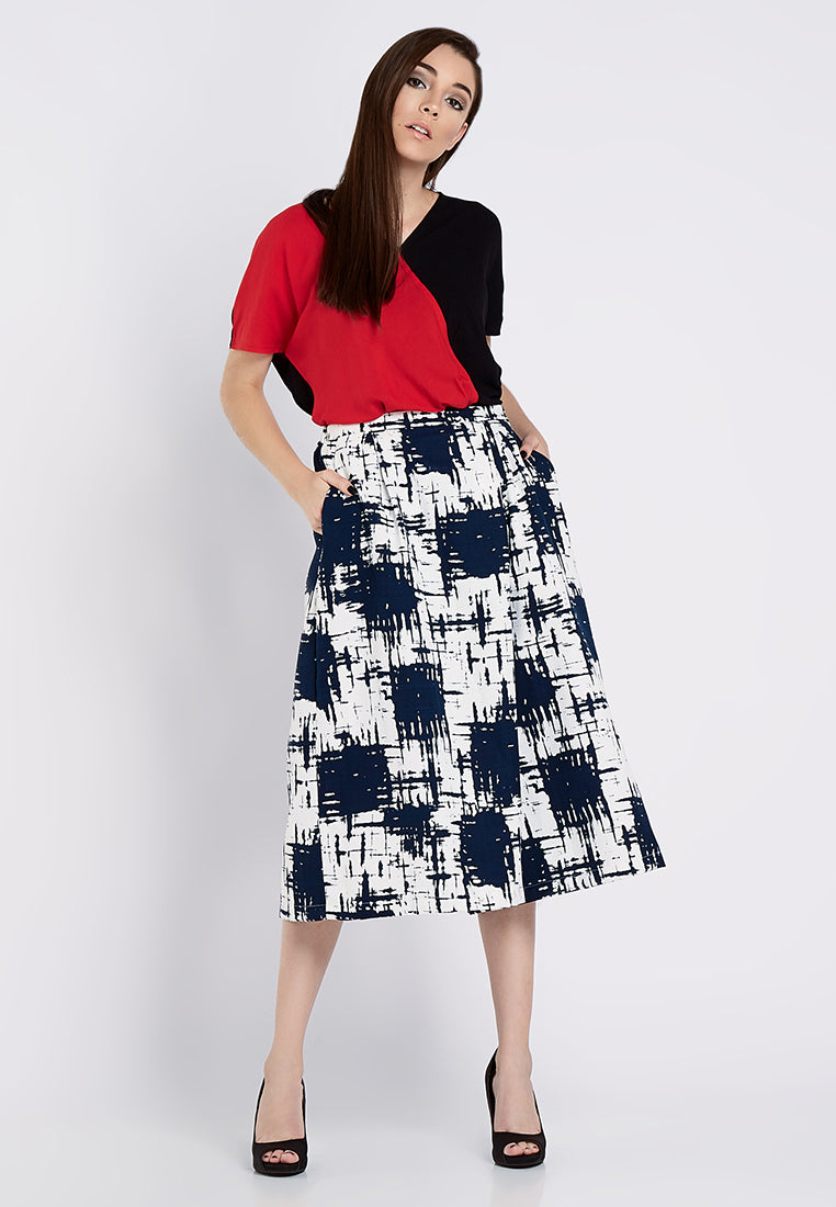 Printed Overlapped Culottes - Abstract Navy