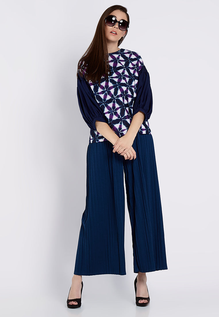Shibori Puffy Sleeves - Navy & Purple