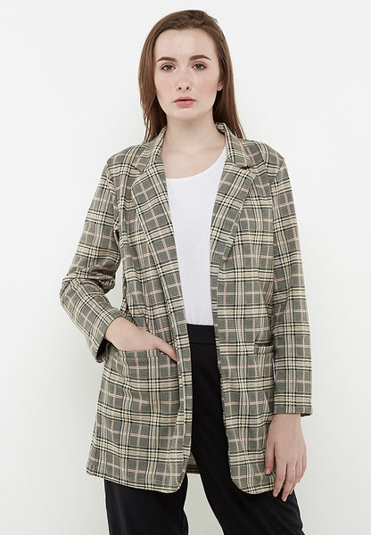 Checkered Long Blazer