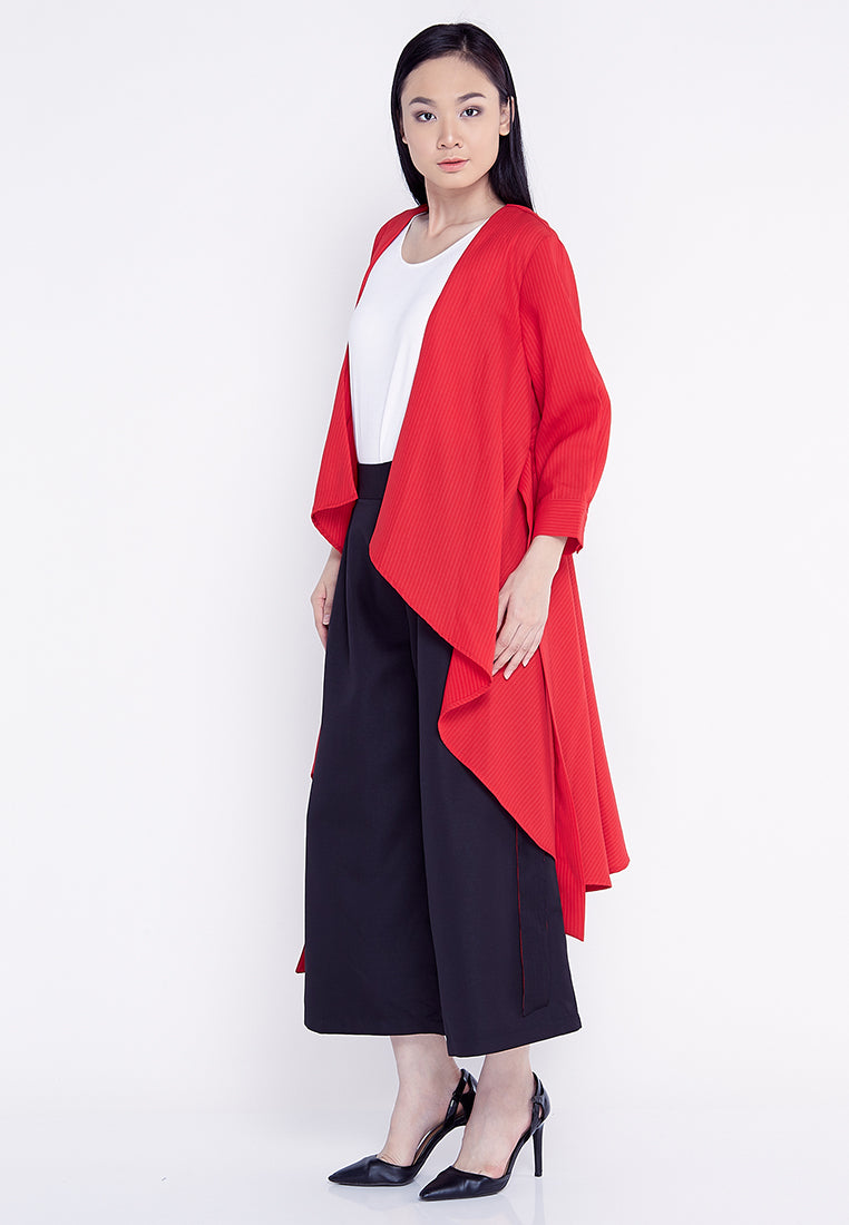 Tie Up Cardigan Blouse - Red