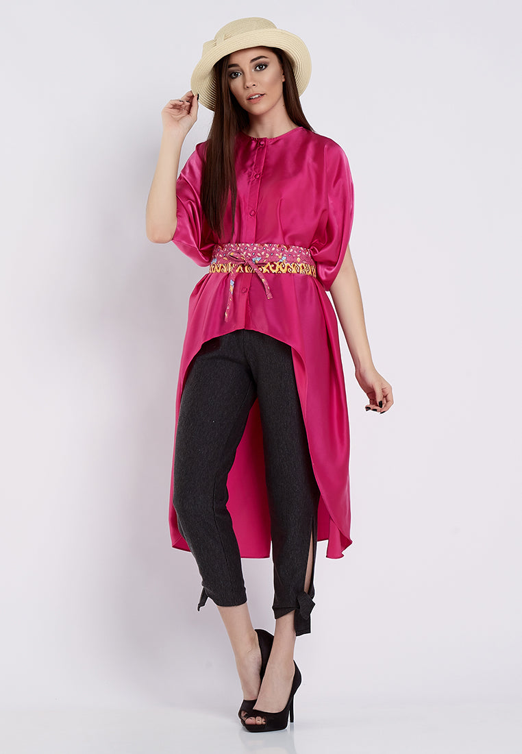 High Low Dramatic Blouse - Pink (Obi Not Include)