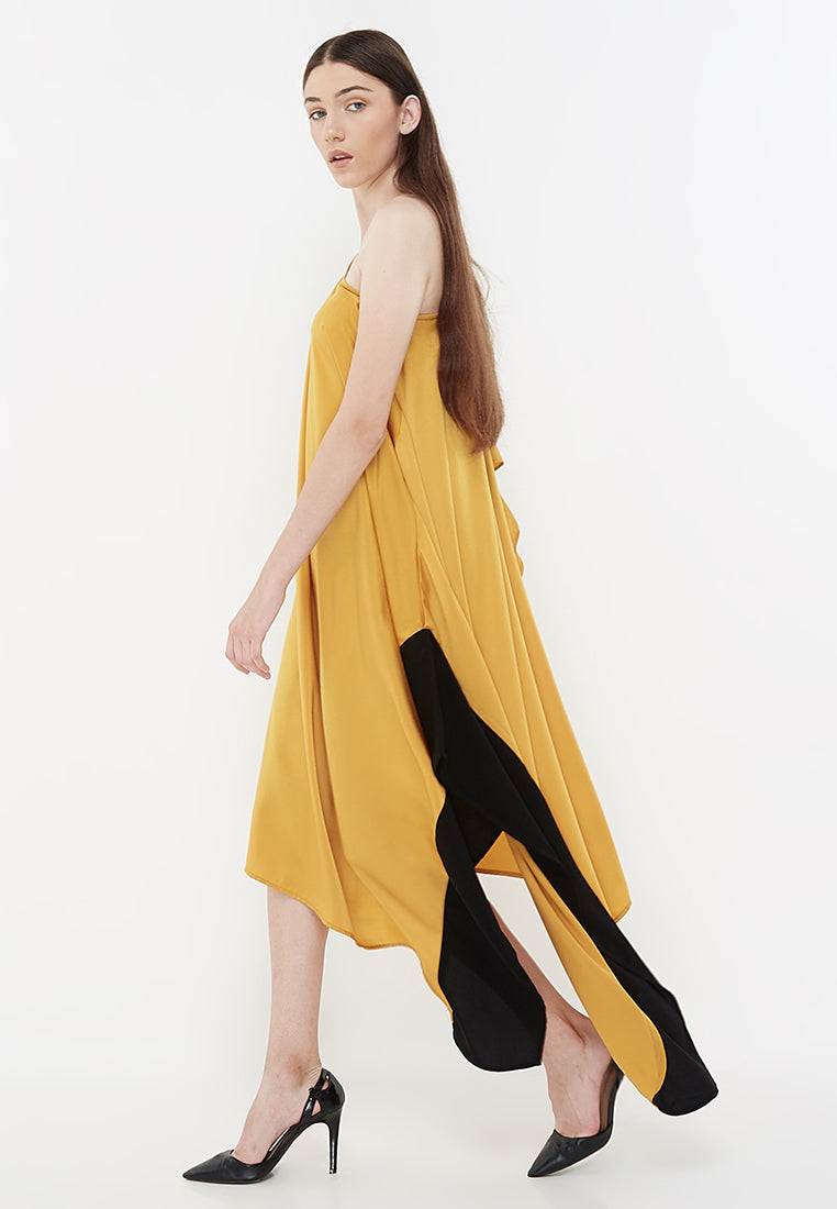 Two Tone Goddess Dress - Yellow & Black