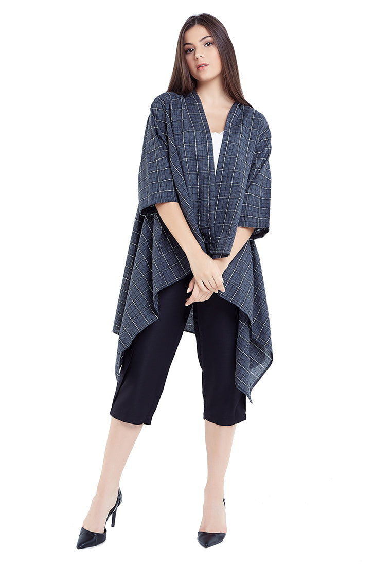 Plaid Monochromatic Outer - Grey