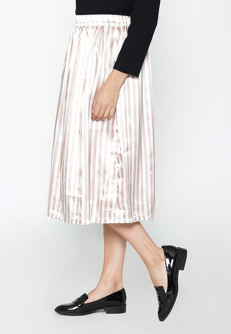 Stripe Midi Skirt - Brown