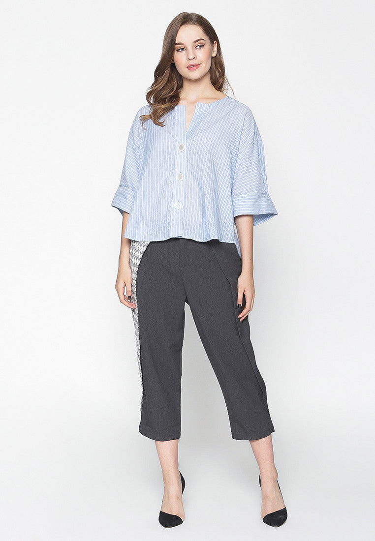 Pinstripe Blouse - Blue