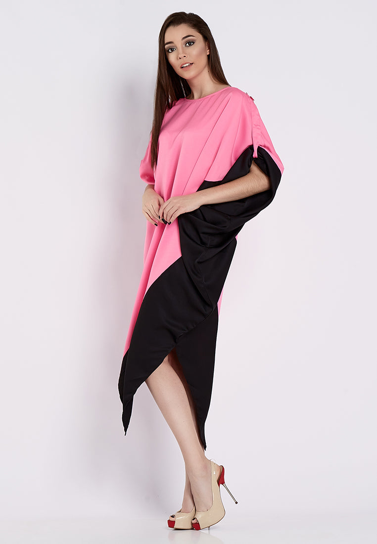 Asymmetrical Oversized Dress - Pink