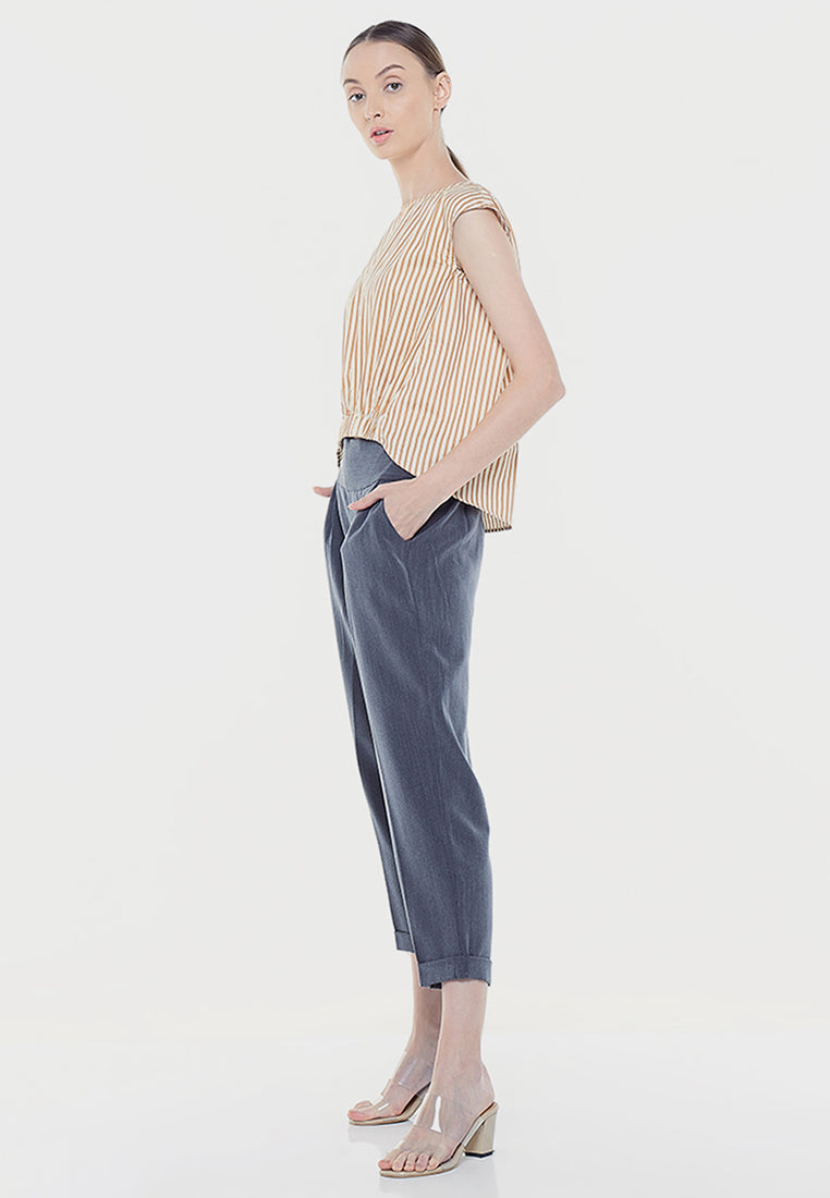 High Low Blouse - Stripe Brown