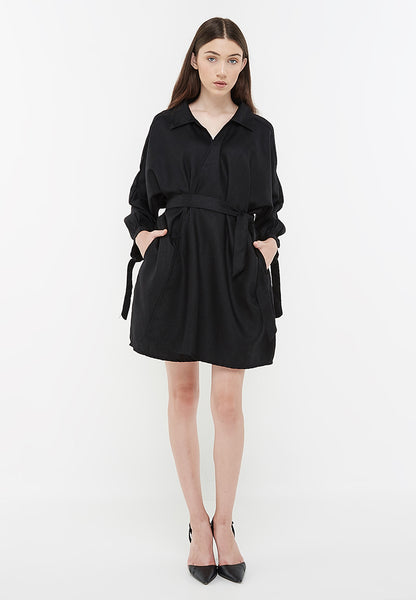 Oversized Mini Outer Dress - Black
