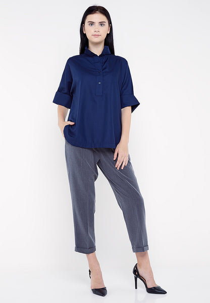 High Neck Shirt - Navy