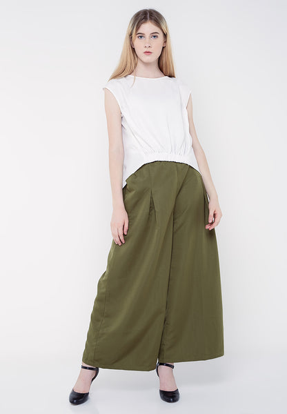 Long Culottes Pants - Green