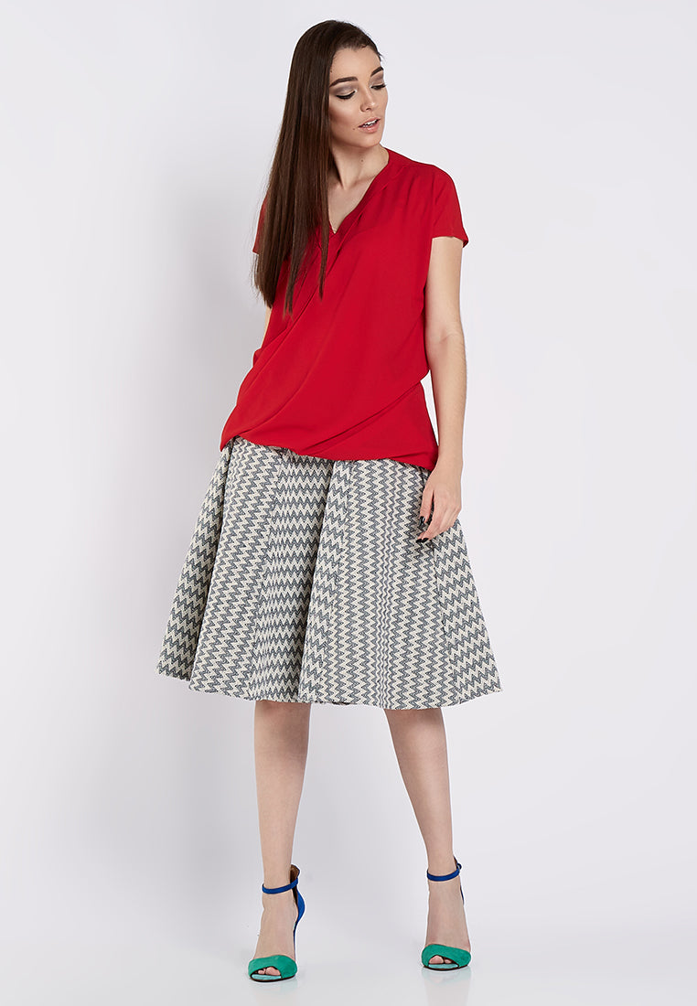 Long Drapped Blouse - Red