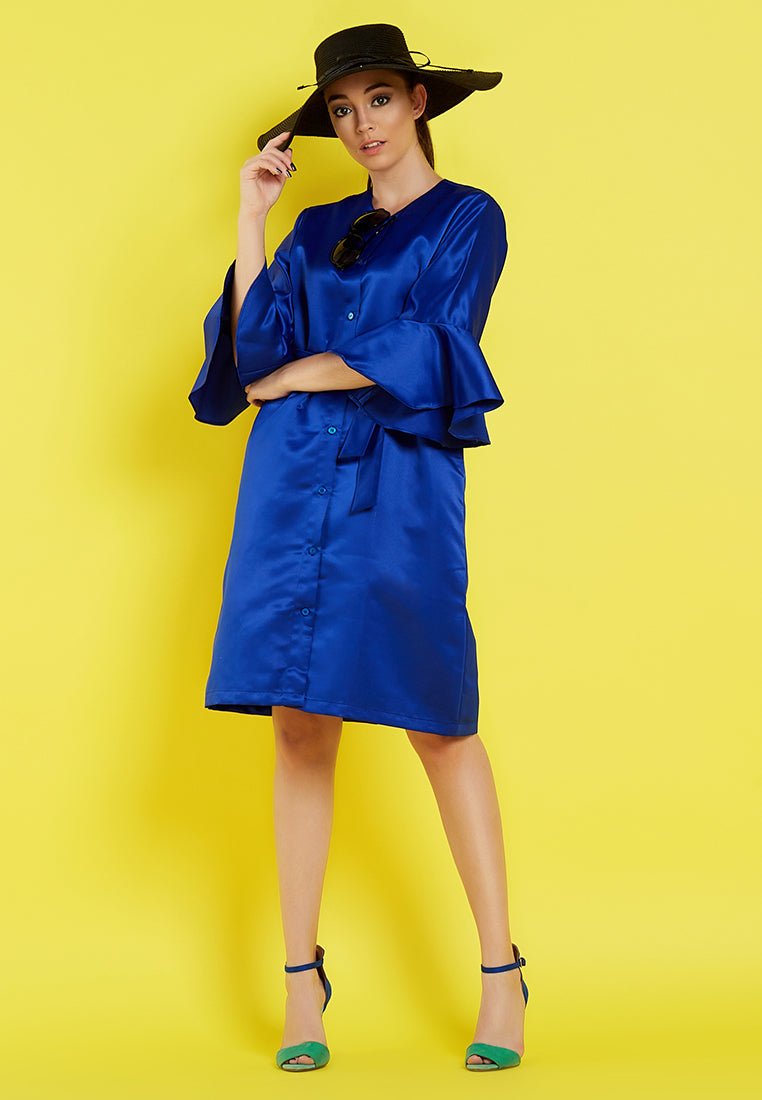 Dress - Outer With Flounces Sleeves -  Blue Electric