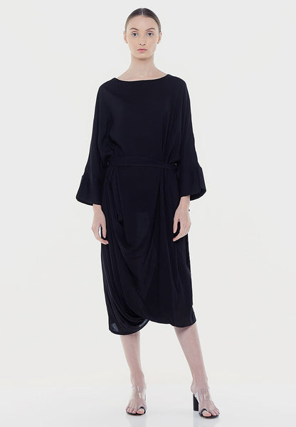 Loose Tie-Up Dress - Black