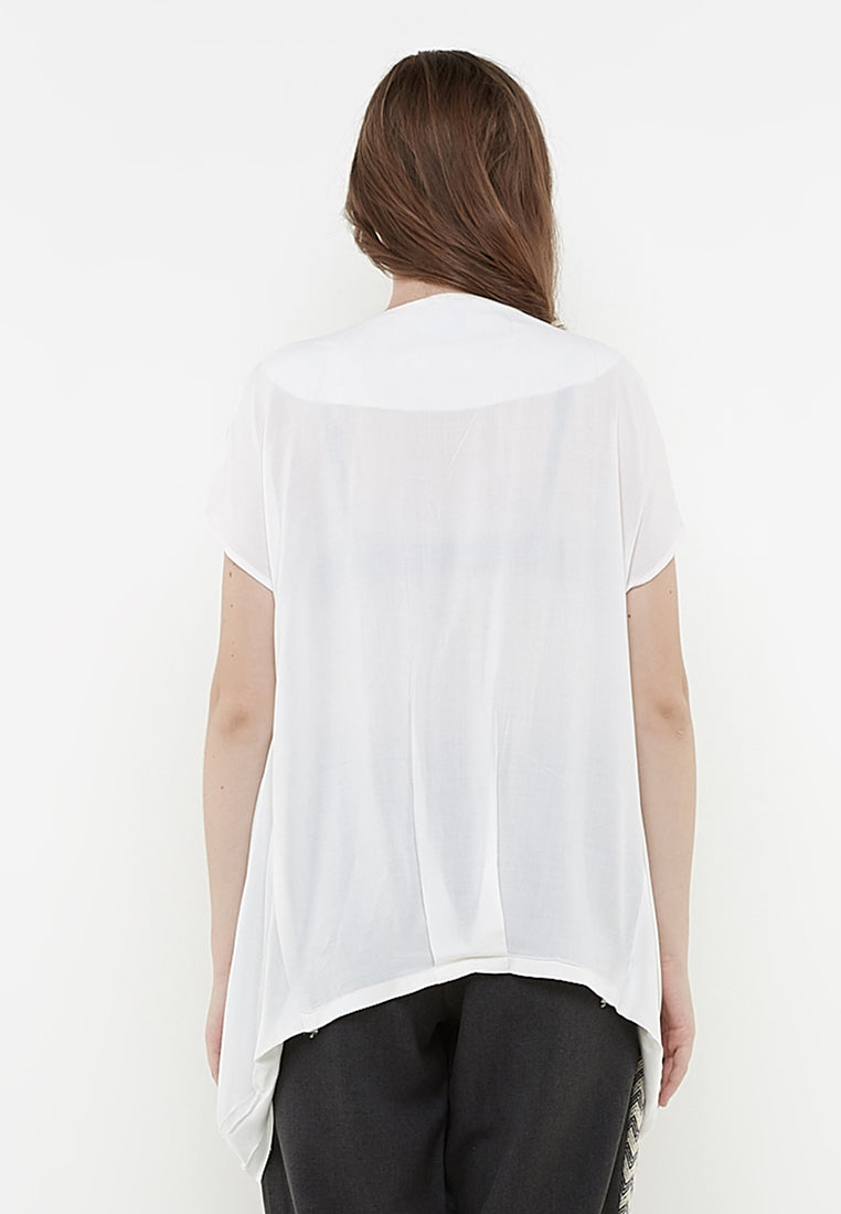 Long Drapped Blouse Off-White