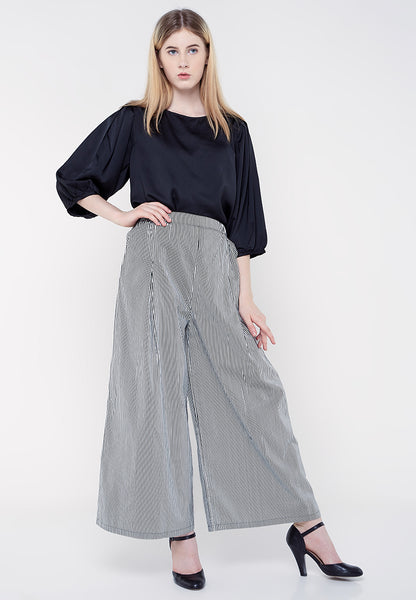 Long Culottes Stripe Pants - Black & White