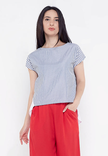 High Low Tie Up Blouse - Stripe Blue & White