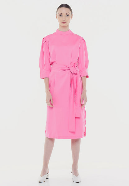 High Neck Midi Dress - Pink