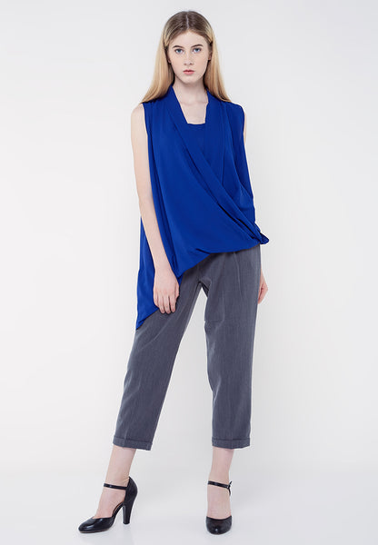 Asymmetric Drapes Blouse - Blue