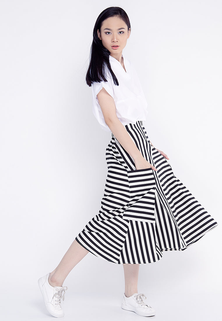 Stripe A-Line Midi Skirt - Black & White