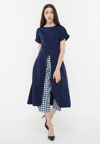 Front Slit Long Blouse - Navy