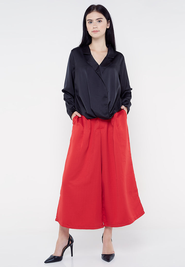 Wide Leg Culotte - Red