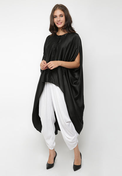 High Low Dramatic Blouse - Black