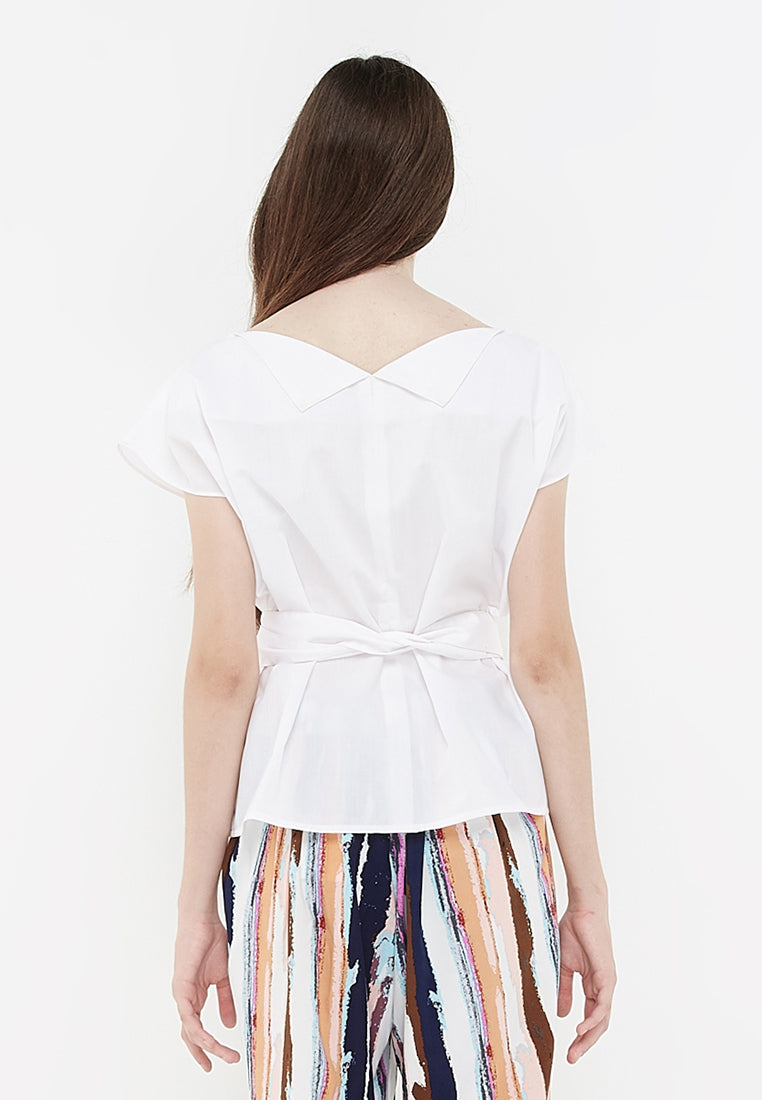 Boxy Tie Up Blouse - White