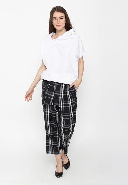 Plaid Office Pants - Black & White