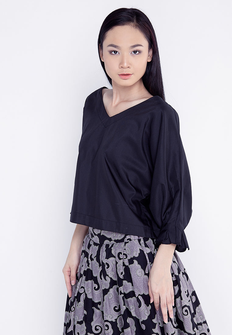 V- Neck Blouse With Fancy Sleeves - Black