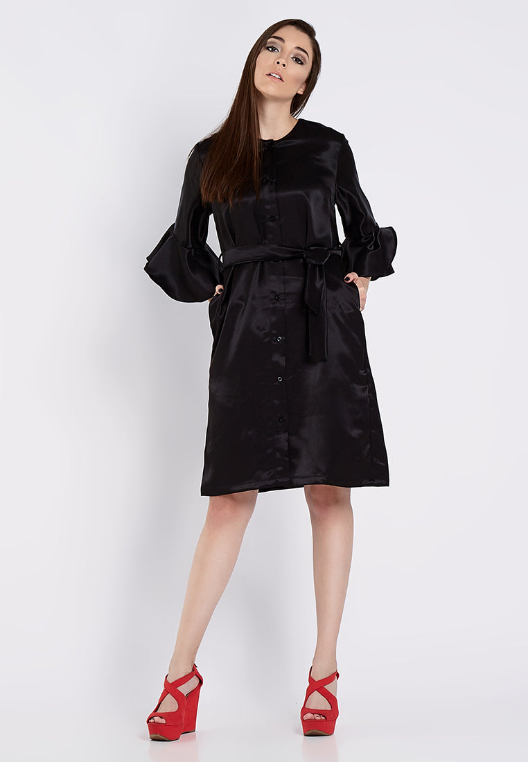 Dress - Outer With Flounces Sleeves - Black