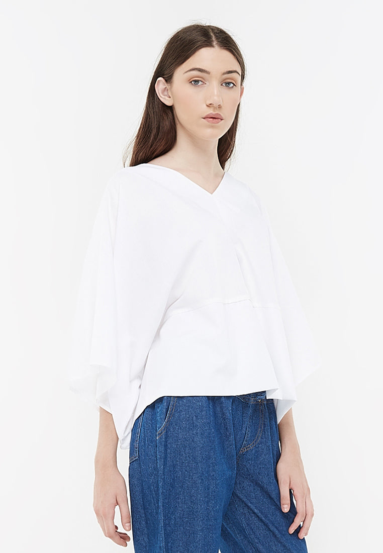 V-Neck Blouse With Kimono Sleeves - White