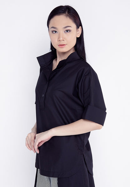 High Neck Shirt - Black