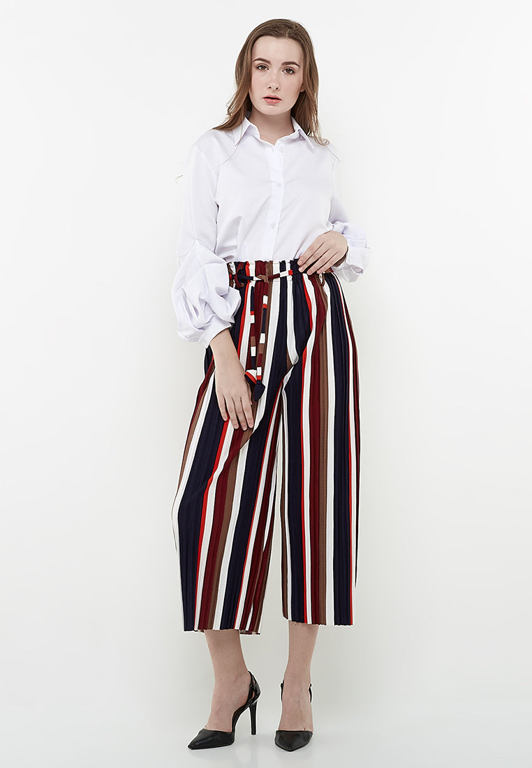 Midi Culottes Pants (Stripe Navy-Brown--Maroon-White-Orange)