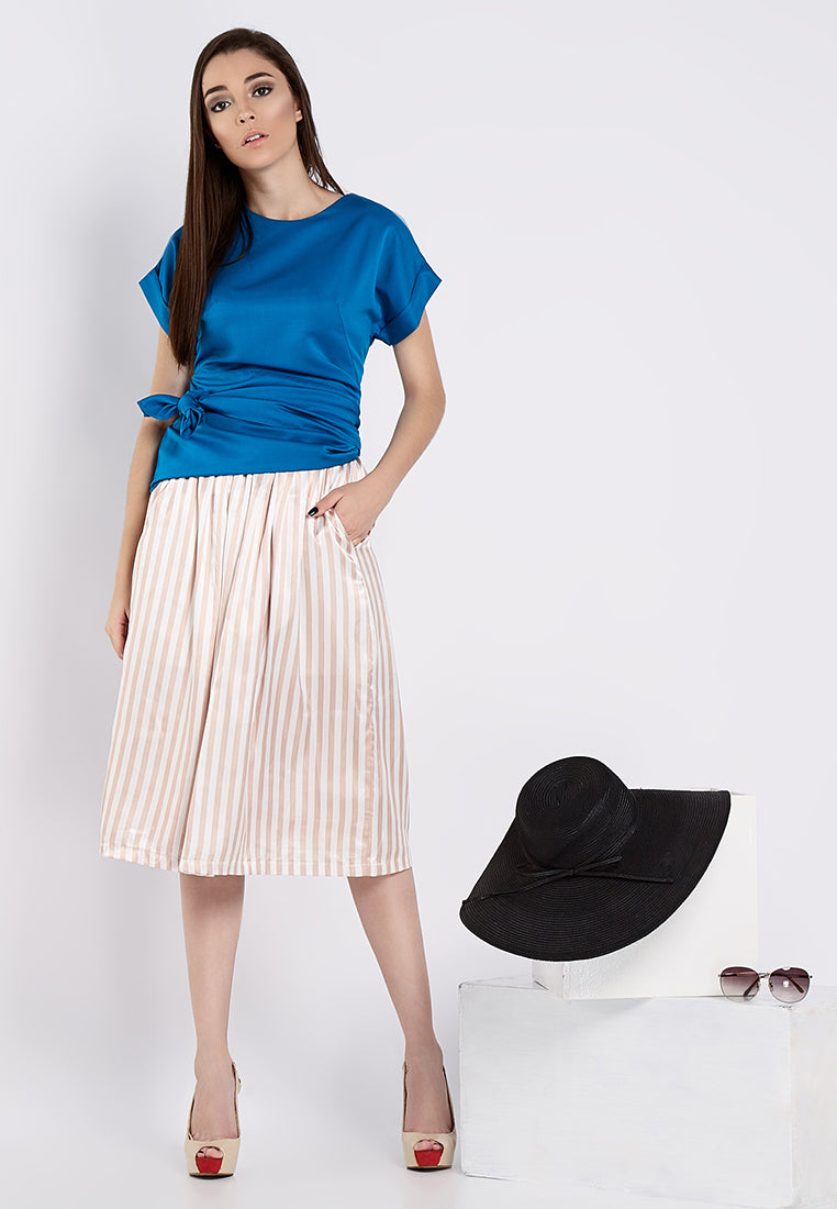 Asymmetrical With Tie-Up Blouse - Blue