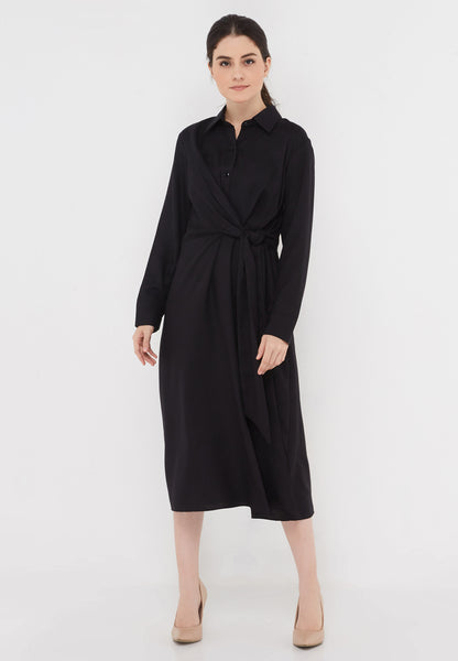 Knot Front Black Dress