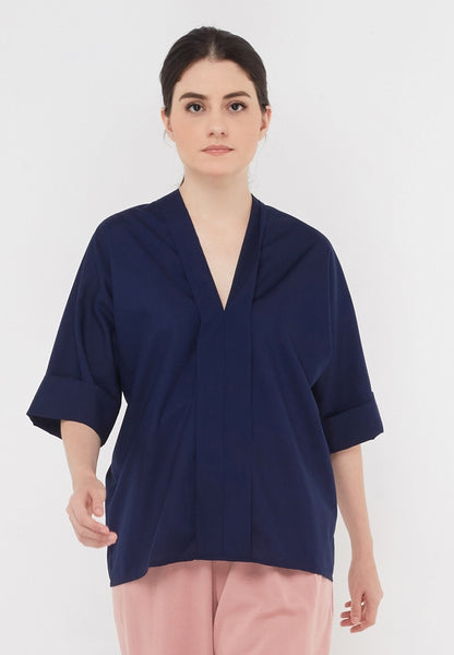 Effortless V Navy Blouse