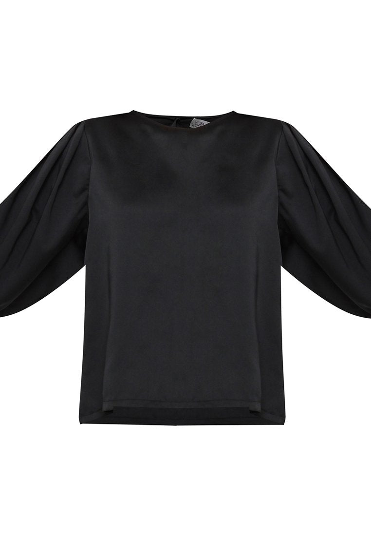 Puff Sleeves Blouse - Black