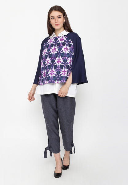 Sibori Cape - Navy & Purple