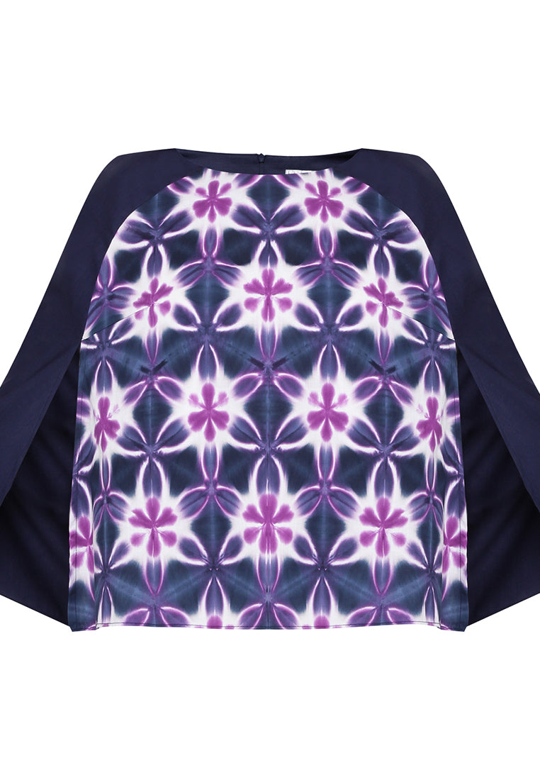 Shibori Cape - Navy & Purple