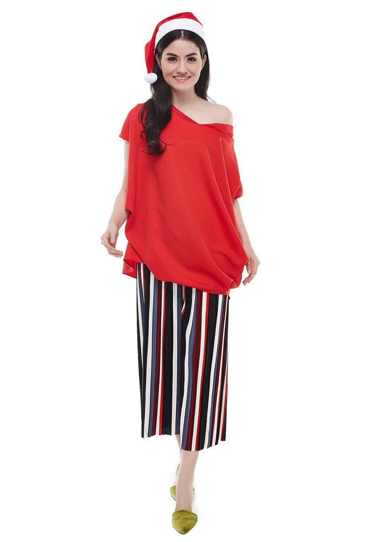 Oversized Boxy Blouse - Red