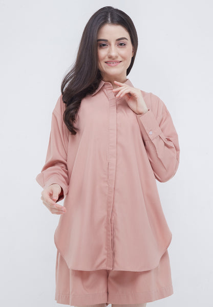 1 Set Twist Blouse Pants - Rosy Brown