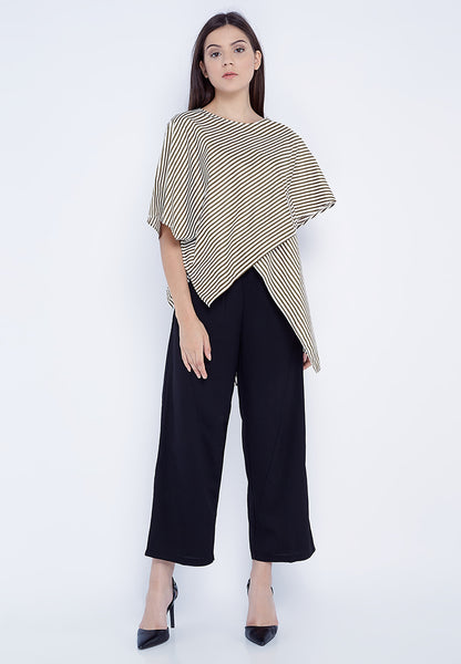 Oversized Drapped Blouse - Stripe Olive