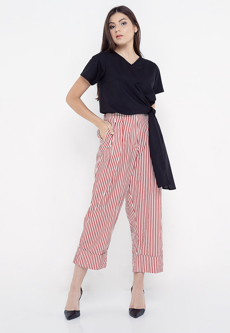 Wide Leg Stripe Pants - Red & White