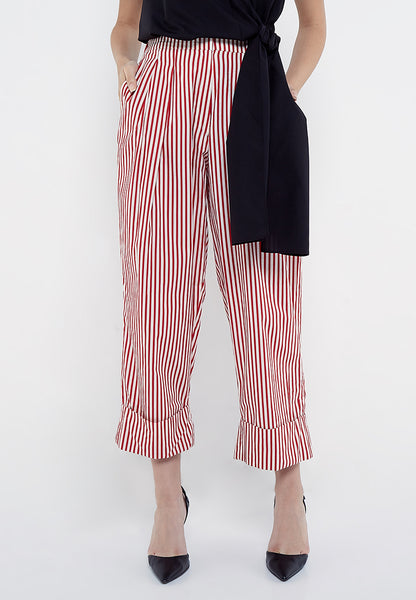 Wide Leg Stripe Pants - Red & White (RESTOCK)
