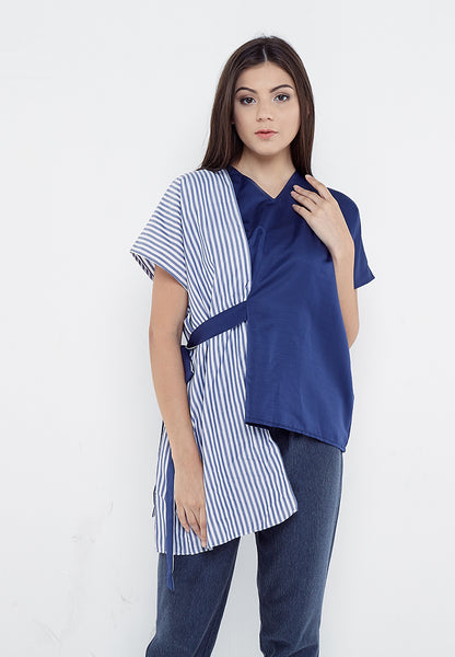Two Ways Blouse - Navy & Stripe