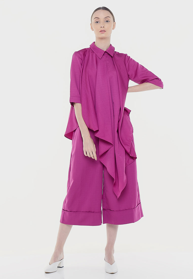 Asymmetrical Front Layered Shirt - Fuchsia