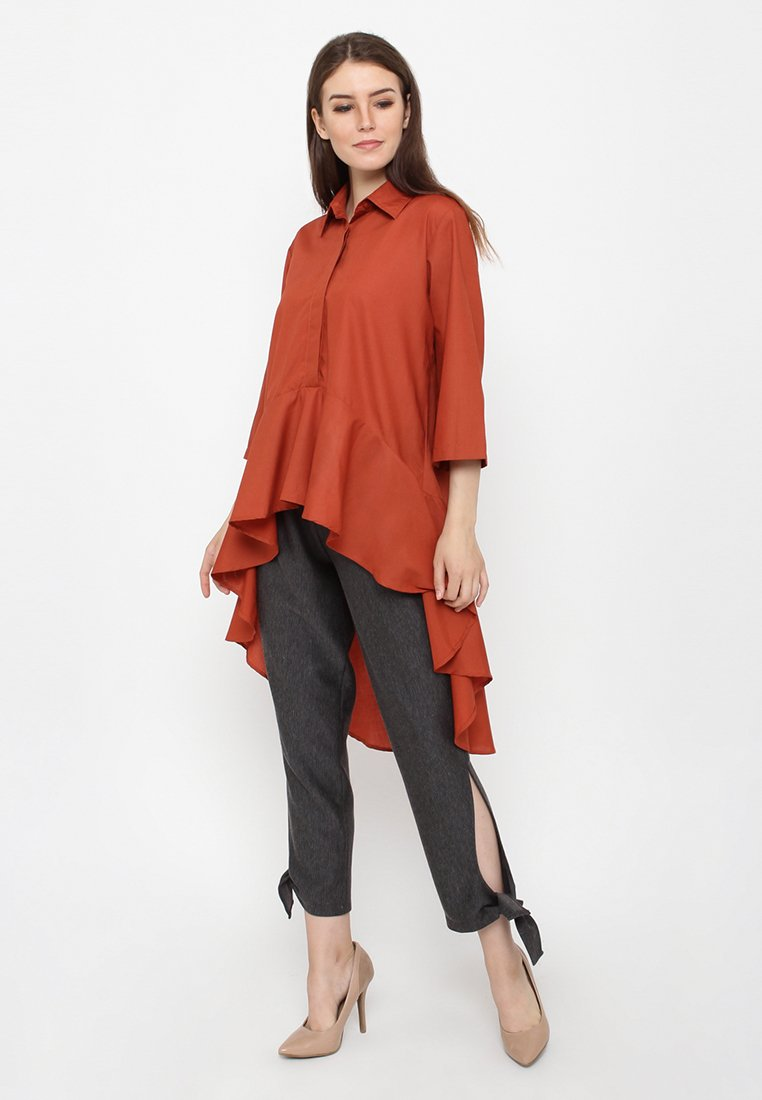 Chic Long Drapery Shirt - Copper